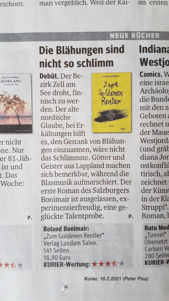 "Kritik Kurier über ""Zum Goldenen Rentier"" von Peter Pisa, 16.2.2021"
