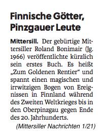 Bericht über Roland Bonimair / Zum Goldenen Rentier in den Mittersiller Nachrichten 1/21 vom Jänner 2021