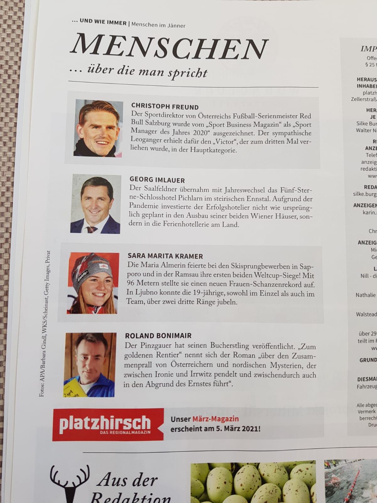 Bericht über Roland Bonimair / Zum Goldenen Rentier im Pinzgauer Platzhirsch vom Februar 2021