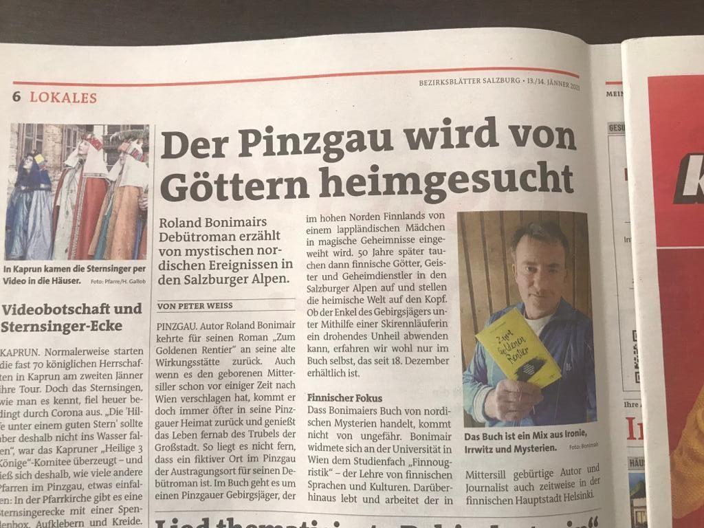 """Bericht über """"Zum Goldenen Rentier"""" in den Pinzgauer Bezirksblättern vom 13.1.2021"""