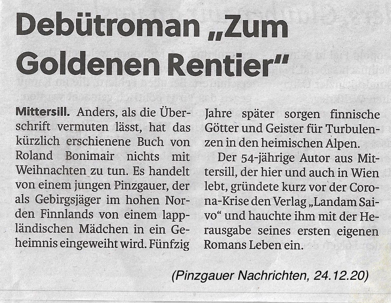 Bericht über Zum Goldenen Rentier in den Pinzgauer Nachrichten vom 24.12.2020