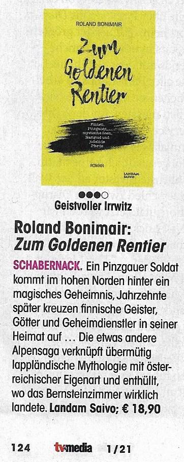 Kritik über Zum Goldenen Rentier in TV MEDIA 1/21 (Charts, Seite 124)